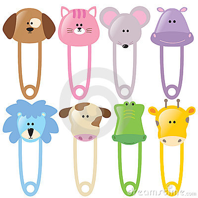 Free Animal Baby Safety Pins Set 2 Isolated Royalty Free Stock Photography - 9083037