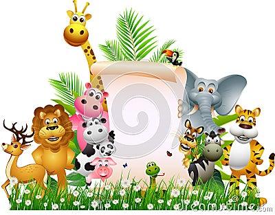 Animal cartoon with blank sign