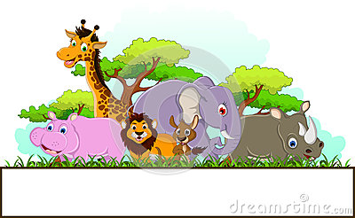 Animal cartoon with blank sign and tropical forest background