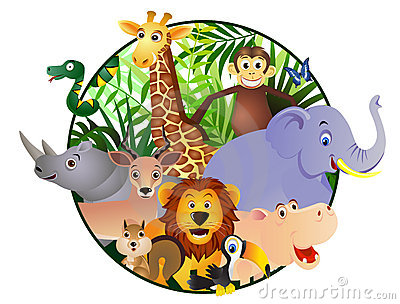 Animal cartoon in the circle