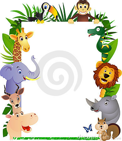 Animal cartoon and white blank