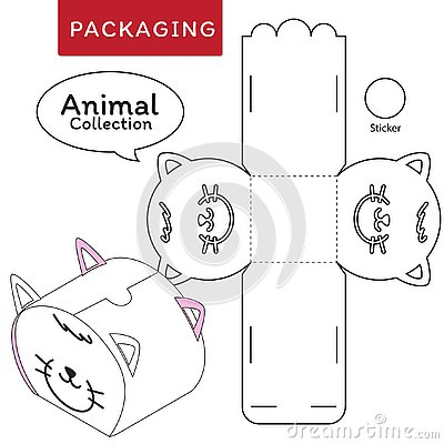 Animal collection vector Illustration of Box.Package Template. Vector Illustration