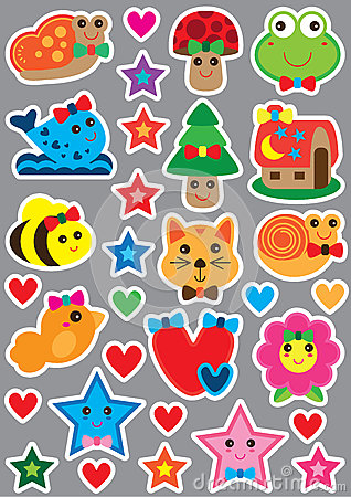 Free Animal Cute Small Sticker Magnet Cut Set Royalty Free Stock Image - 75055066