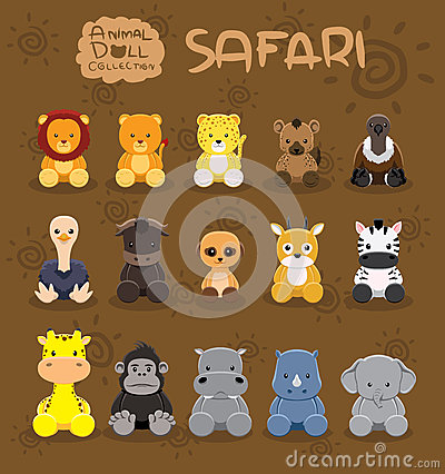 Free Animal Dolls Safari Set Cartoon Vector Illustration Royalty Free Stock Image - 59602376