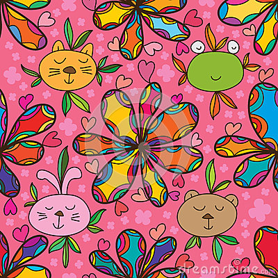 Free Animal Face Cute Colorful Flower Seamless Pattern Stock Photos - 67544413