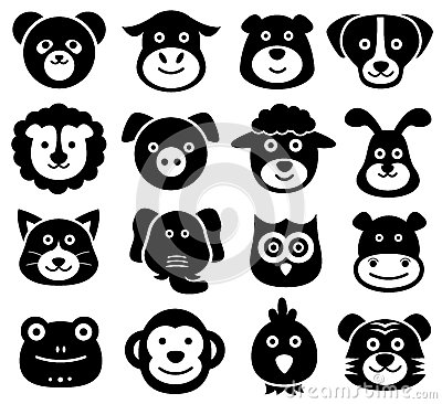 Free Animal Faces, Animal Icons, Silhouettes, Zoo, Nature Royalty Free Stock Photo - 60460835
