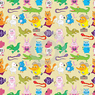 Animal Fly Sea Land Seamless Pattern_eps