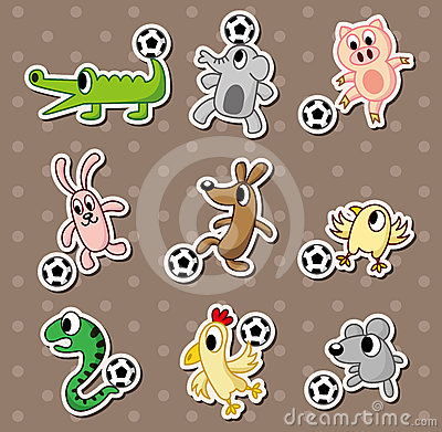 Free Animal Football Stickers/soccer Ball Stickers Royalty Free Stock Photography - 24370567
