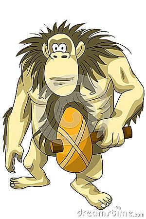 Animal gorilla mace ancient character cartoon style