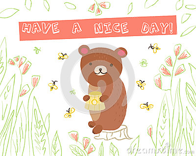 Animal greeting card Vector Illustration