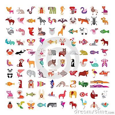 Free Animal Icon Set Stock Images - 56306054