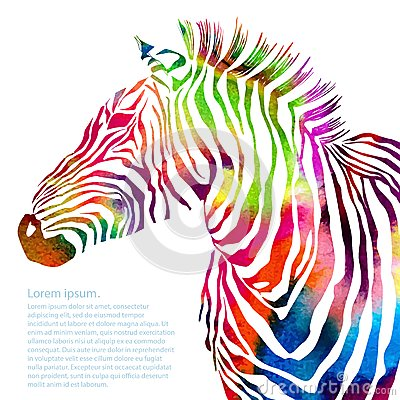 Free Animal Illustration Of Watercolor Zebra Silhouette Stock Images - 48562844