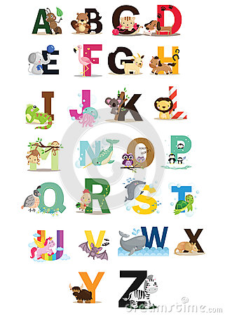 Free Animal Letter Vector Set Royalty Free Stock Image - 43678596