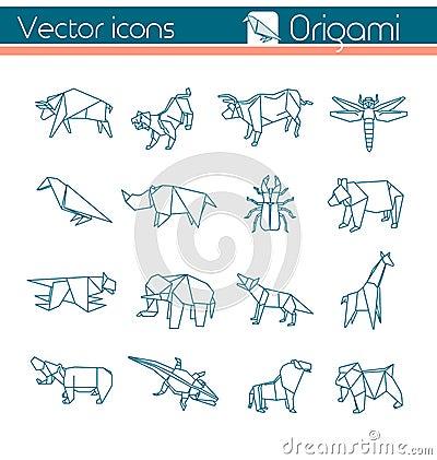 Animal origami, Vector icons. Stock Photo