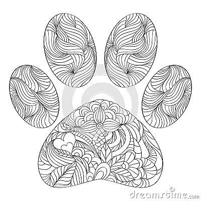 Animal Paw Print On White Background Stock Vector Image