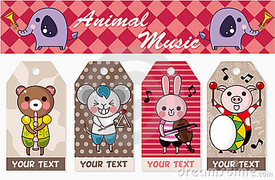 Animal play music card