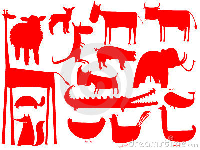 Animal red silhouettes isolated on white