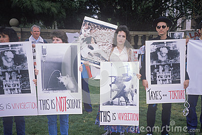 Animal rights demonstrators holding signs Editorial Photography
