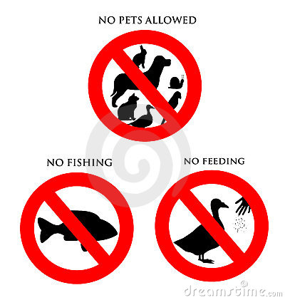 Free Animal Signs - No Pets, Fishing, Feeding Stock Photo - 9013120