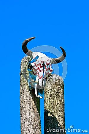 Animal skull on totem