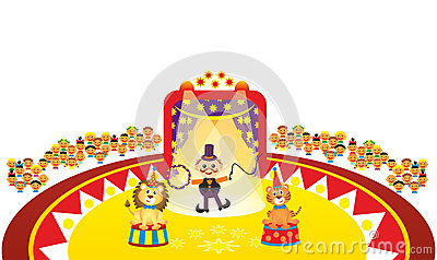 Animal tamer in circus