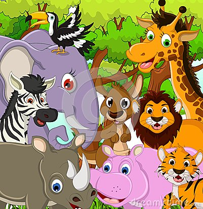 Animal wildlife cartoon with tropical forest background