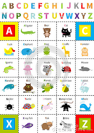 Free Animal Zoo Alphabet Poster. Letters With Eyes. Cute Cartoon Character Set. Isolated. White Background Flat Design. Baby Children E Stock Images - 85107434