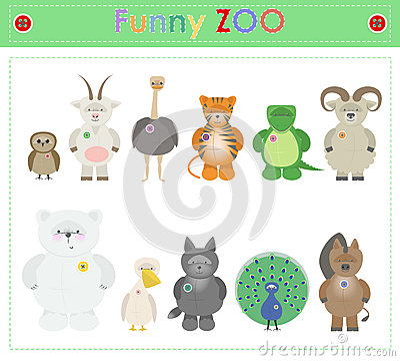 Animal Zoo, part three Funny small plush animals. cartoon Vecto Vector Illustration