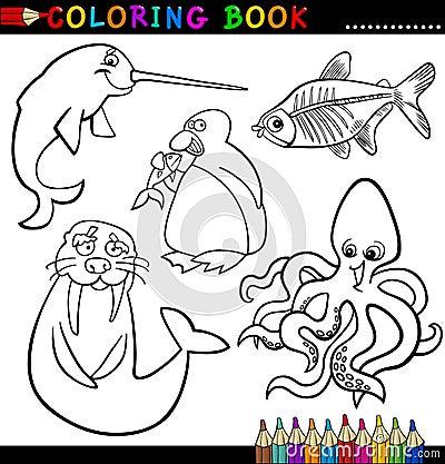Animales para el libro o la paginación de colorante