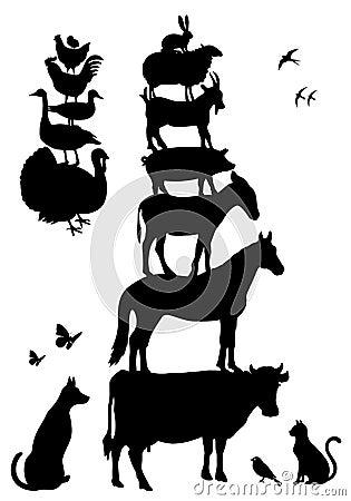 Animali da allevamento, insieme di vettore