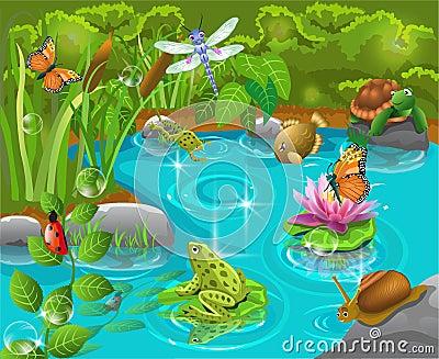 animali nello stagno fotografia stock immagine 31549160