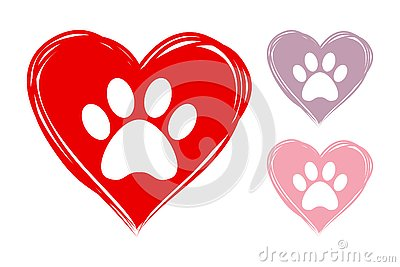 hand drawn hearts with animal paw prints inside. Vector Illustration
