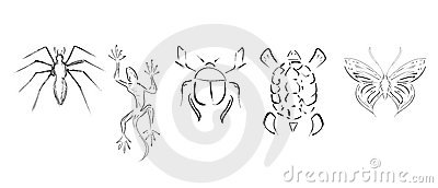 set of stylized animals isolated in black