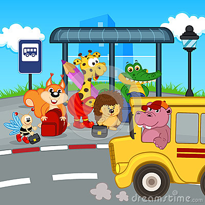 Free Animals At Bus Stop Waiting School Bus Stock Image - 47958061
