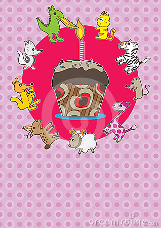 Animals Cake Card_eps