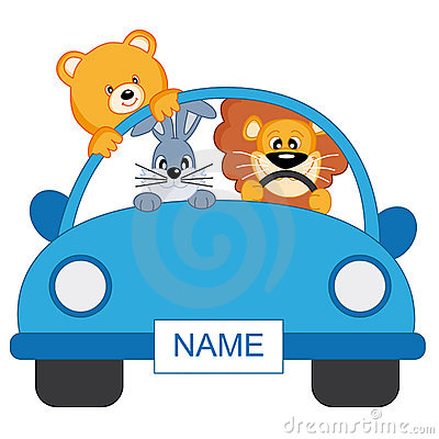 Animals in a car. Boy