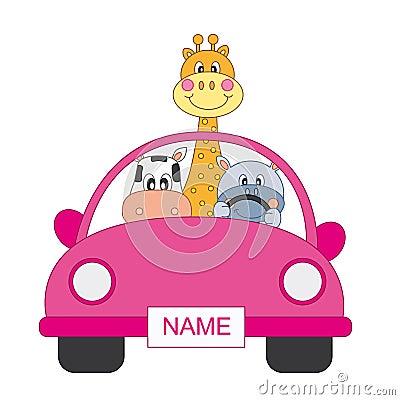 Animals in a car, girl