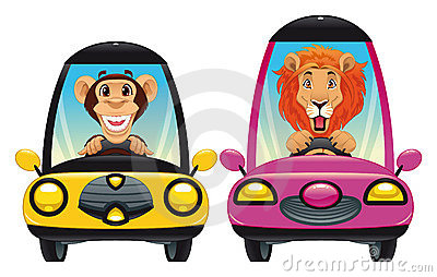 Animals in the car: Monkey and Lion