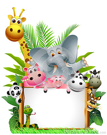 Free Animals Cartoon With Blank Sign Stock Image - 27048211