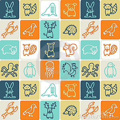 Free Animals Checked Pattern Royalty Free Stock Image - 3343476