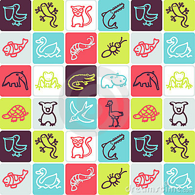 Animals checked pattern