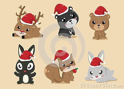 Animals in Christmas Day Vector Illustration