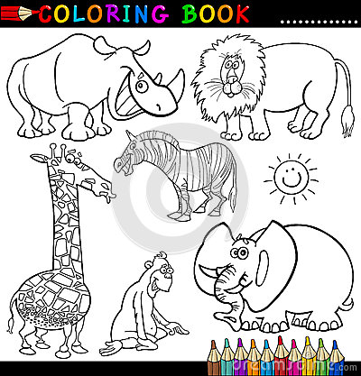 Animals For Coloring Book Or Page Stock Images - Image: 26423044