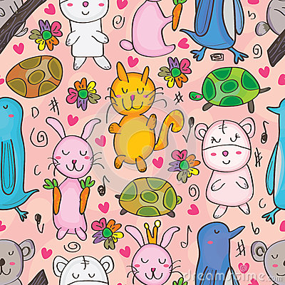 Animals Drawn Seamless Pattern_eps