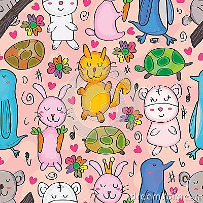 Free Animals Drawn Seamless Pattern_eps Stock Images - 29097824