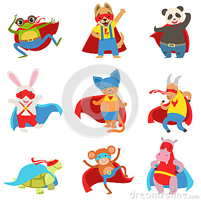 Free Animals Dressed As Superheroes With Capes And Masks Set Stock Photography - 82169412