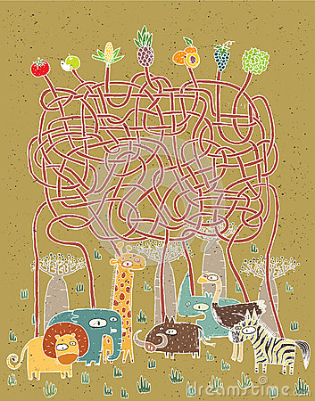 Animals and Food Maze Game