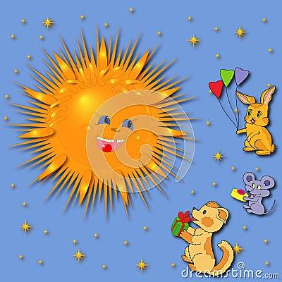 Animals Greeting A Sun