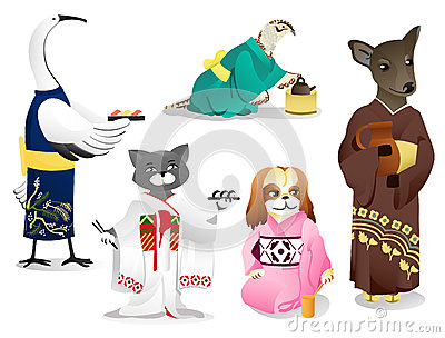 Animals in a kimono