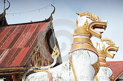 Animals in mythology in front of Thai temple